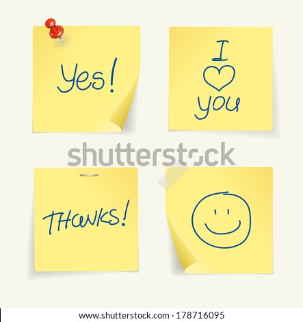 Vector set of yellow sticky Notes with text - stock vector