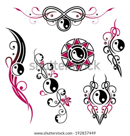 Vector set of yin yang jewelry, tribal and tattoo style - stock vector