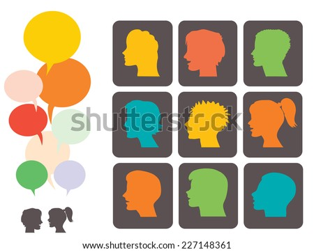 Vector set of young people profile silhouettes and colorful speech bubbles - stock vector
