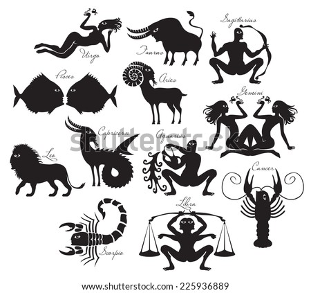 vector set of zodiac signs in the ancient style - stock vector