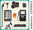 Vector Set: oil, gasoline, petrol - stock photo