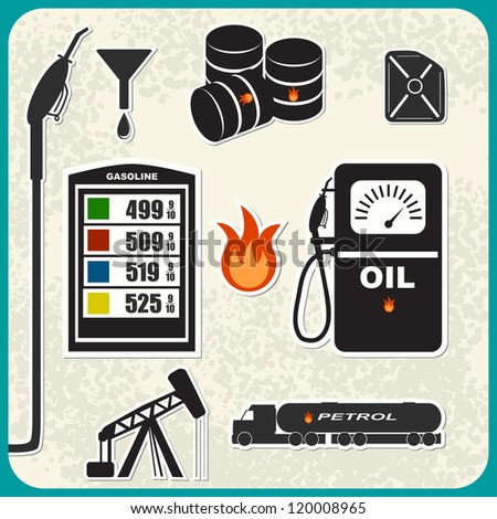 Vector Set: oil, gasoline, petrol - stock vector