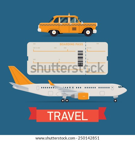 Vector set on travel flat design transportation icons featuring passenger jet airliner, boarding pass airfare ticket blank and city yellow cab taxi vehicle - stock vector