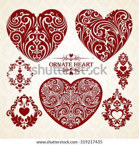 Vector set ornamental decorative heart design elements. Love symbols. Page decoration frames borders calligraphic design elements for invitation, congratulation, greeting card - stock vector