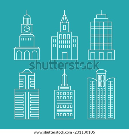 Vector set outline buildings and houses - line design elements  - stock vector