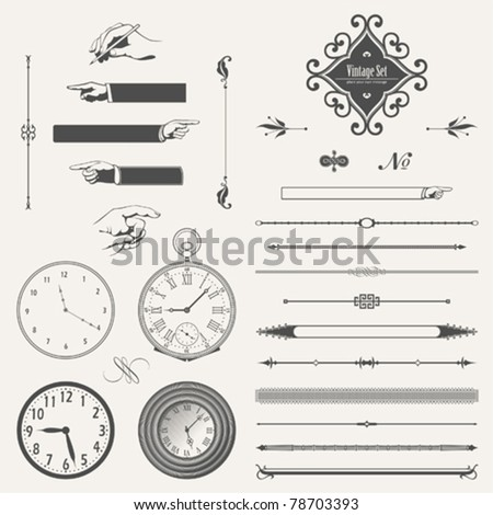 vector set: page decoration and pocket watches - stock vector
