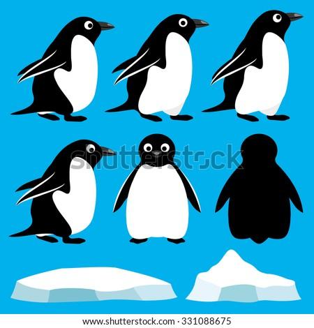 Vector set. Penguins. - stock vector