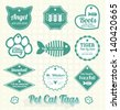 Vector Set: Pet Cat Name Tags and Labels - stock vector