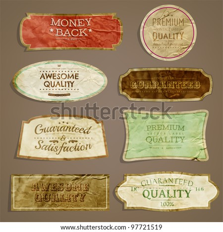 vector set: Premium Quality and Satisfaction Guarantee Labels, old paper texture - stock vector