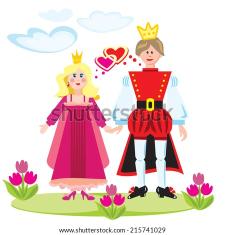 Vector set princess and prince