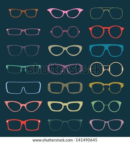 Vector Set: Retro Color Glasses Silhouettes - stock vector