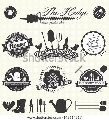 Vector Set Retro Gardening Labels Icons Stock Vector