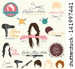 Vector Set: Retro Hair Salon Labels and Icons - stock vector