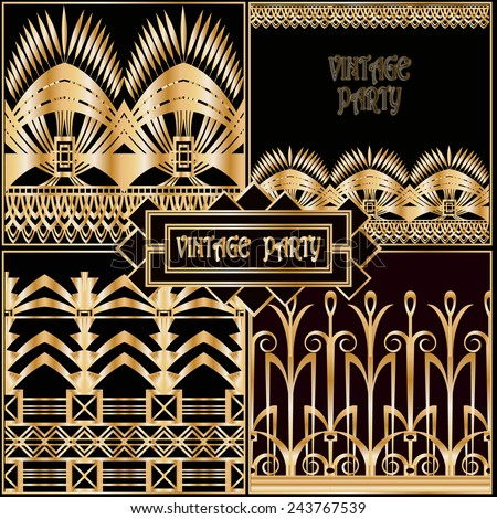 Vector set retro pattern for vintage party in Gatsby style - stock vector