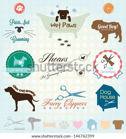 Vector Set: Retro Pet Grooming Labels - stock vector
