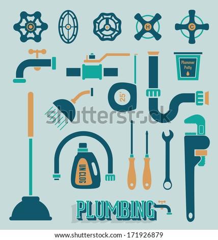 Vector Set: Retro Plumbing Icons and Symbols - stock vector