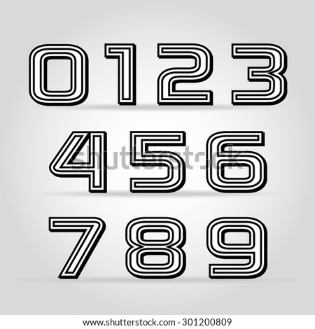 Vector set retro style black numbers with contour