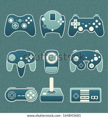 Vector Set: Retro Video Game Remote Controls - stock vector