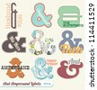 Vector Set: Retro Vintage Ampersand Labels and Stickers - stock vector