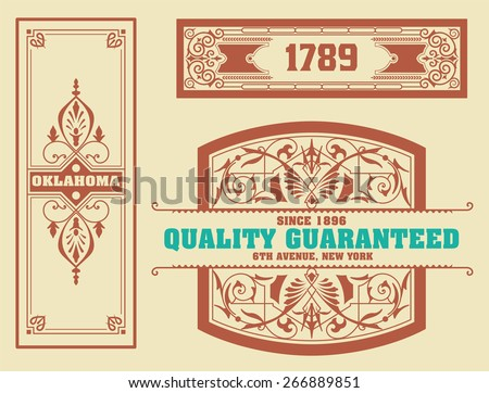 vector. Set retro wedding card - stock vector