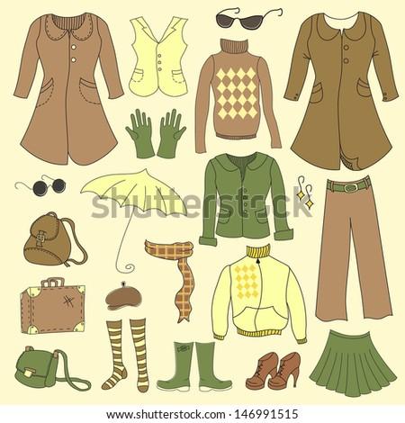 Vector set, retro woman clothes - stock vector