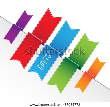 Vector set ribbons tag eps10 - stock vector