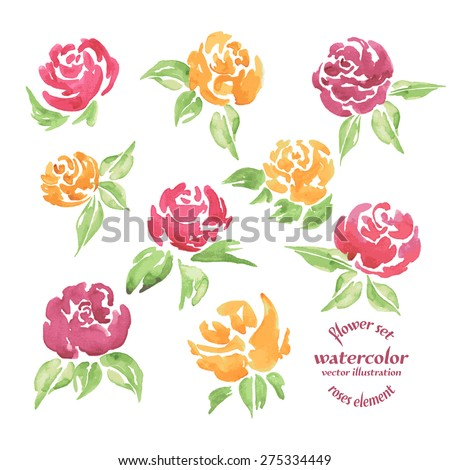 Vector Set Roses Watercolor. A Vector Floral Collection of Painted Red and Yellow Roses Watercolor on white isolation background. Background for your design, wedding invitations, save the date cards - stock vector