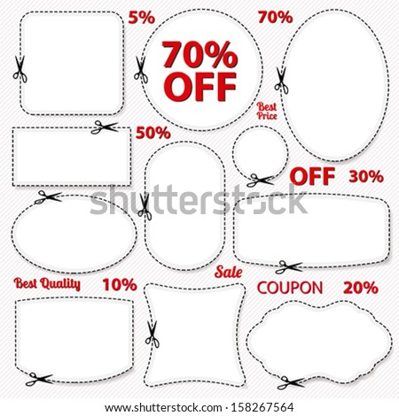 Vector Set Sale Coupon Labels Banner Stock Vector 158267564 ...
