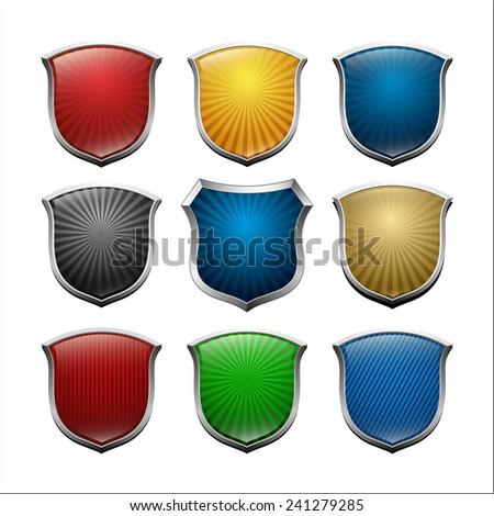 vector set shield icon - stock vector
