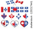 Vector set showing different illustrations portraying combinations between the flags of Canada and Quebec, to symbolize French Canadians - stock vector
