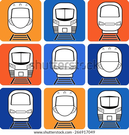 vector set silhouette modern express train on different colors square background - stock vector