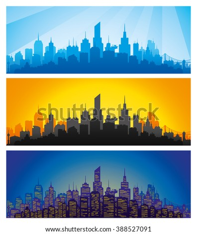 Vector set. Silhouette of the city at different times of the day