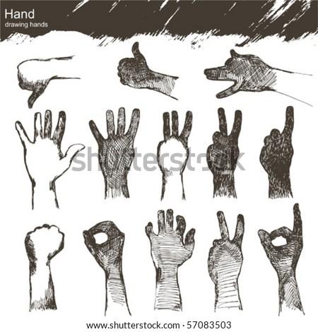vector set : sketch hands - stock vector
