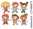 Vector set - small cartoon children - stock vector