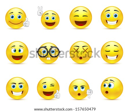 vector set - smiley faces expressing different feelings - stock vector