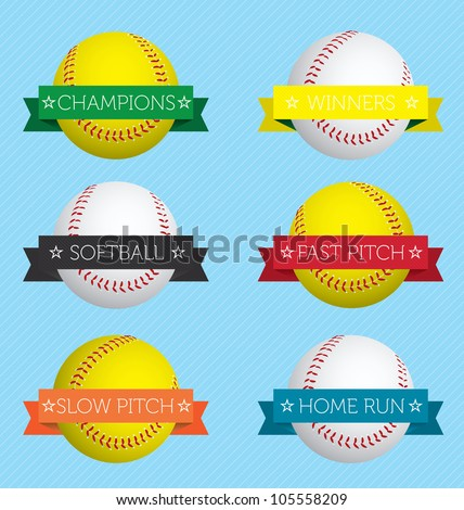 Vector Set: Softball  Labels and Stickers with Banners - stock vector