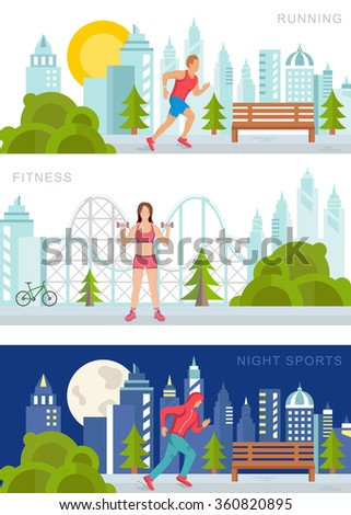 Vector set sport and fitness illustrations and banners on white background. Running man, fitness woman and night sports. Modern isolated illustration city sports and fitness - stock vector