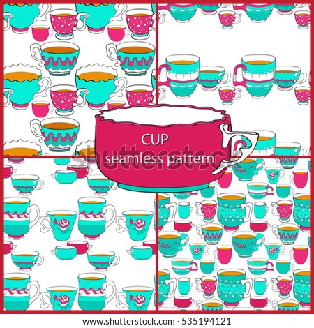 Vector set stylish seamless pattern of the doodle various bright  colorful teacups. Cup on white background.