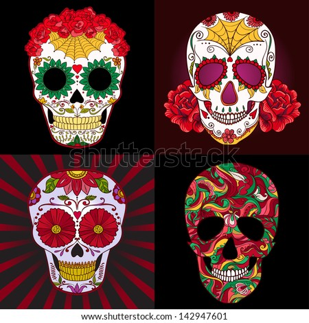 Vector Set Sugar Skull. Dia de los muertos - stock vector