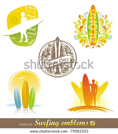 Vector set - surfing emblems & labels in different styles - stock vector