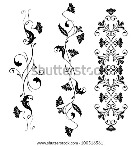 Vector set swirling decorative floral elements ornament - stock vector