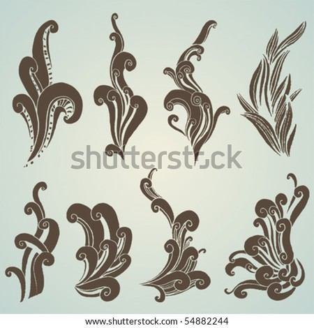 vector set: swirls - stock vector