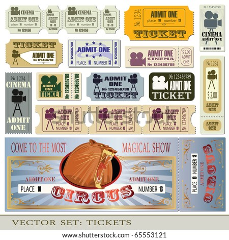 Vector set: tickets admit one in different styles. - stock vector