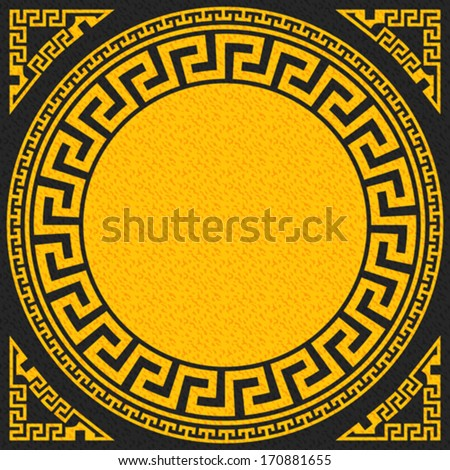 Vector set Traditional vintage golden square and round Greek ornament (Meander) and floral pattern on a black background - stock vector
