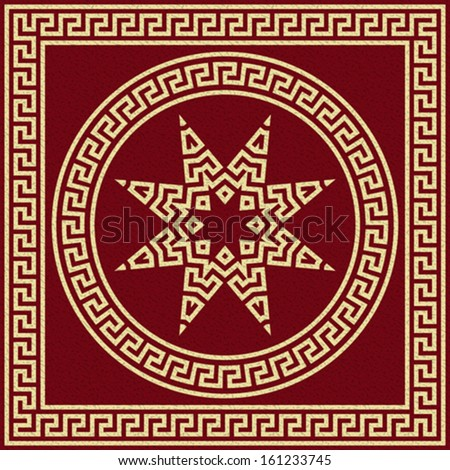 Vector set Traditional vintage golden square and round Greek ornament (Meander) on a red background - stock vector