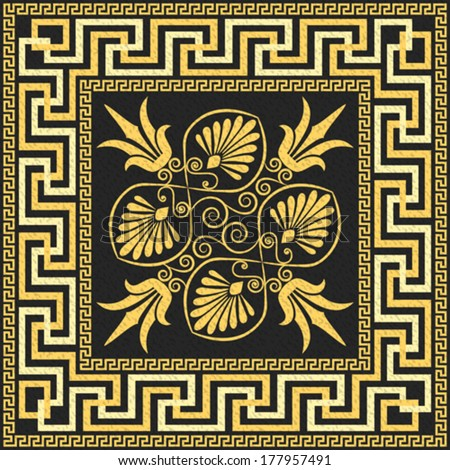 Vector set Traditional vintage golden square Greek ornament (Meander) and floral pattern on a black background - stock vector