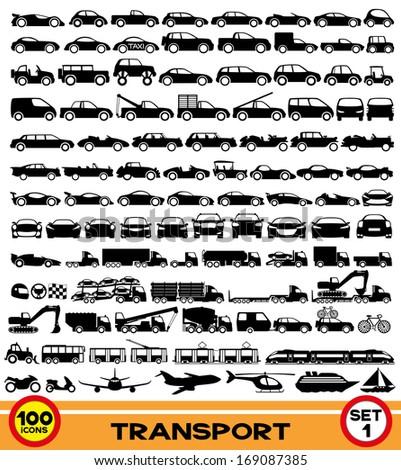 Vector set. Transportation icons. - stock vector