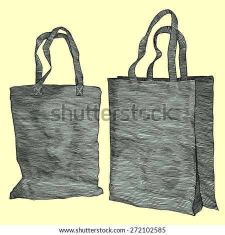 Vector set: Two hand drawn vintage shopping bags