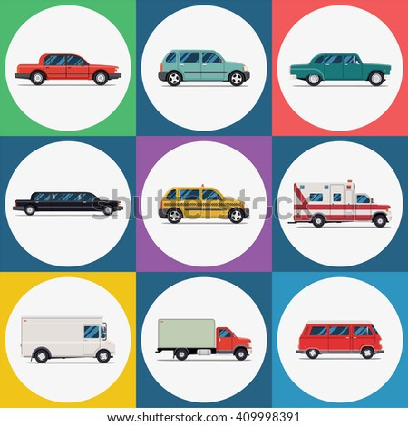 Vector set urban transport icons. Red sedan car, green hatchback, retro vehicle, limousine, taxi, ambulance, delivery truck, red bus - stock vector