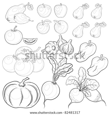 Vector, set: various vegetables and fruits, monochrome contours - stock vector